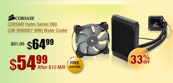 CORSAIR Hydro Series H60 (CW-9060007-WW) Water Cooler