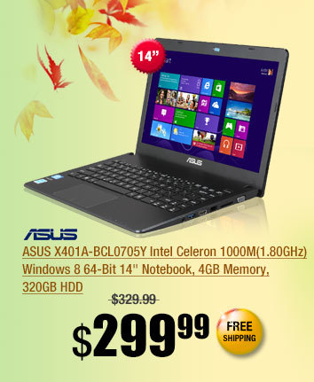 ASUS X401A-BCL0705Y Intel Celeron 1000M(1.80GHz) Windows 8 64-Bit 14 inch Notebook, 4GB Memory, 320GB HDD