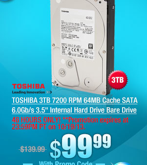 TOSHIBA 3TB 7200 RPM 64MB Cache SATA 6.0Gb/s 3.5 inch Internal Hard Drive Bare Drive
