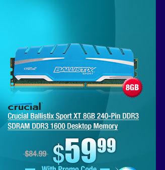 Crucial Ballistix Sport XT 8GB 240-Pin DDR3 SDRAM DDR3 1600 Desktop Memory
