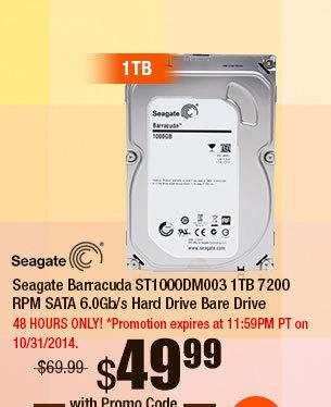 Seagate Barracuda ST1000DM003 1TB 7200 RPM SATA 6.0Gb/s Hard Drive Bare Drive