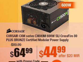CORSAIR CXM series CX600M 600W SLI CrossFire 80 PLUS BRONZE Certified Modular Power Supply