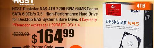"HGST Deskstar NAS 4TB 7200 RPM 64MB Cache SATA 6.0Gb/s 3.5"" High-Performance Hard Drive"