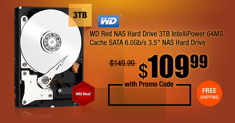 "WD Red NAS Hard Drive 3TB IntelliPower 64MB Cache SATA 6.0Gb/s 3.5"" NAS Hard Drive"