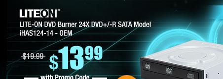 LITE-ON DVD Burner 24X DVD+/-R SATA Model iHAS124-14 - OEM