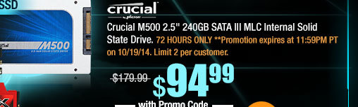 "Crucial M500 2.5"" 240GB SATA III MLC Internal Solid State Drive"