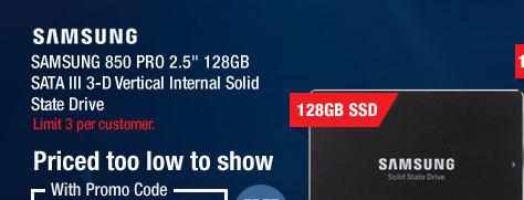 "SAMSUNG 850 PRO 2.5"" 128GB SATA III 3-D Vertical Internal Solid State Drive"