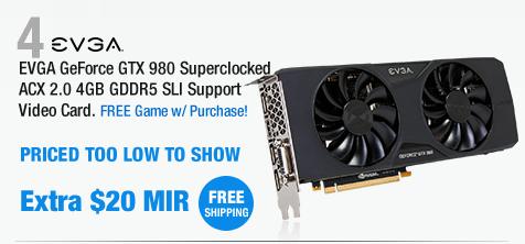 EVGA GeForce GTX 980 Superclocked ACX 2.0 4GB GDDR5 SLI Support Video Card