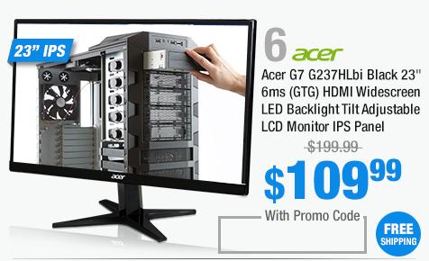 """Acer G7 G237HLbi Black 23"""" 6ms (GTG) HDMI Widescreen LED Backlight Tilt Adjustable LCD Monitor IPS Panel"""