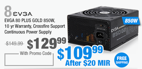 EVGA 80 PLUS GOLD 850W, 10 yr Warranty, Crossfire Support Continuous Power Supply