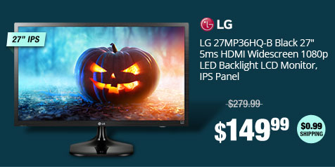 "LG 27MP36HQ-B Black 27"" 5ms HDMI Widescreen 1080p LED Backlight LCD Monitor, IPS Panel"