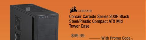 Corsair Carbide Series 200R Black Steel/Plastic Compact ATX Mid Tower Case