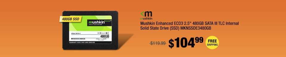 "Mushkin Enhanced ECO3 2.5"" 480GB SATA III TLC Internal Solid State Drive (SSD) MKNSSDE3480GB"