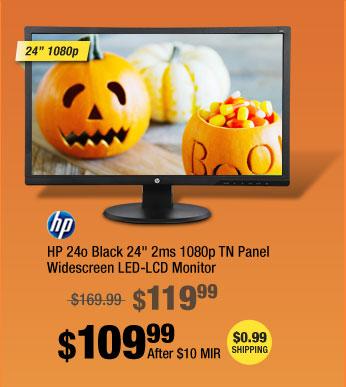 "HP 24o Black 24"" 2ms 1080p TN Panel Widescreen LED-LCD Monitor"
