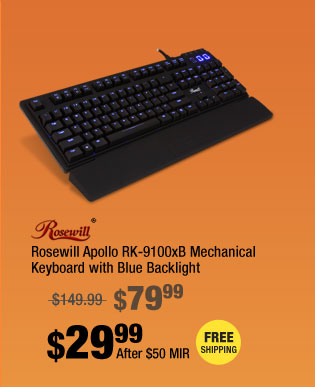 Rosewill Apollo RK-9100xB Mechanical Keyboard with Blue Backlight