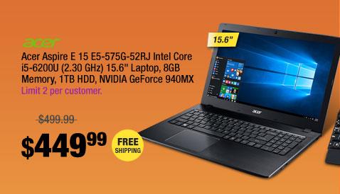 "Acer Aspire E 15 E5-575G-52RJ Intel Core i5-6200U (2.30 GHz) 15.6"" Laptop, 8GB Memory, 1TB HDD, NVIDIA GeForce 940MX"
