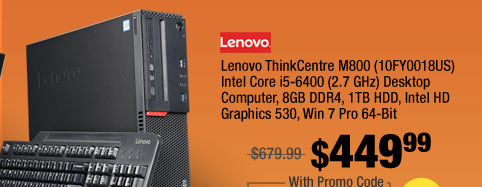 Lenovo ThinkCentre M800 (10FY0018US) Intel Core i5-6400 (2.7 GHz) Desktop Computer, 8GB DDR4, 1TB HDD, Intel HD Graphics 530, Win 7 Pro 64-Bit
