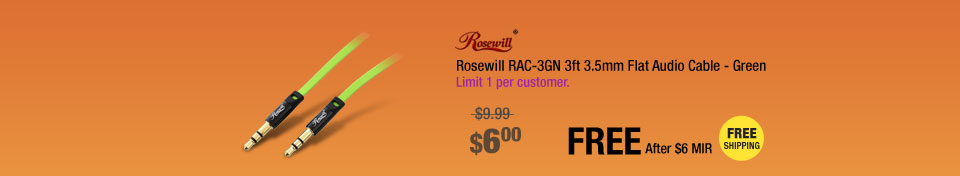 Rosewill RAC-3GN 3ft 3.5mm Flat Audio Cable - Green