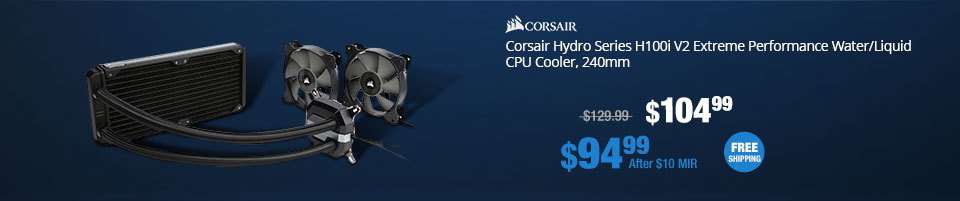 Corsair Hydro Series H100i V2 Extreme Performance Water/Liquid CPU Cooler, 240mm