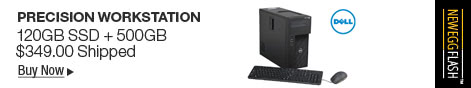 Newegg Flash - Dell Precision T1650 Workstation - Intel Xeon E3-1240 v2 3.4Ghz Quad Core, 8GB DDR3, 120GB SSD + 500GB HDD, DVD-RW, NVidia Quadro 600 1GB Video, Windows 10 Professional - Grade A - Keyboard/Mouse