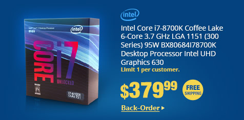 Intel Core i7-8700K Coffee Lake 6-Core 3.7 GHz LGA 1151 (300 Series) 95W BX80684I78700K Desktop Processor Intel UHD Graphics 630