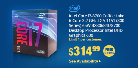 Intel Core i7-8700 Coffee Lake 6-Core 3.2 GHz LGA 1151 (300 Series) 65W BX80684I78700 Desktop Processor Intel UHD Graphics 630