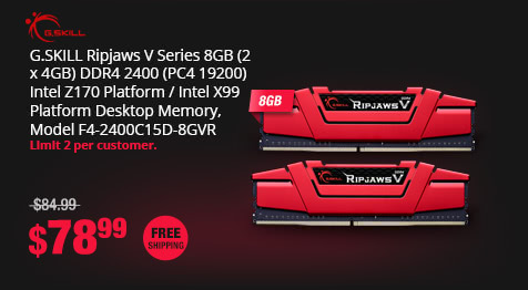 G.SKILL Ripjaws V Series 8GB (2 x 4GB) DDR4 2400 (PC4 19200) Intel Z170 Platform / Intel X99 Platform Desktop Memory, Model F4-2400C15D-8GVR