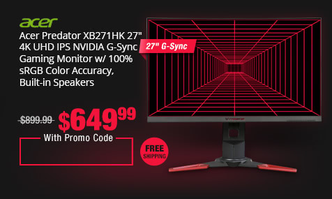 "Acer Predator XB271HK 27"" 4K UHD IPS NVIDIA G-Sync Gaming Monitor w/ 100% sRGB Color Accuracy, Built-in Speakers"