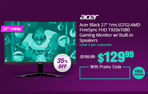 "Acer Black 27"" 1ms (GTG) AMD FreeSync FHD 1920x1080 Gaming Monitor w/ Built-in Speakers"