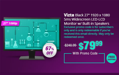 "Vizta Black 27"" 1920 x 1080 5ms Widescreen LED-LCD Monitor w/ Built-in Speakers"