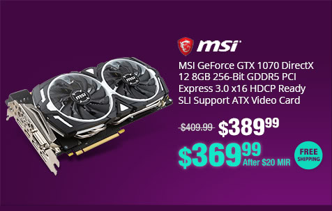 MSI GeForce GTX 1070 DirectX 12 8GB 256-Bit GDDR5 PCI Express 3.0 x16 HDCP Ready SLI Support ATX Video Card