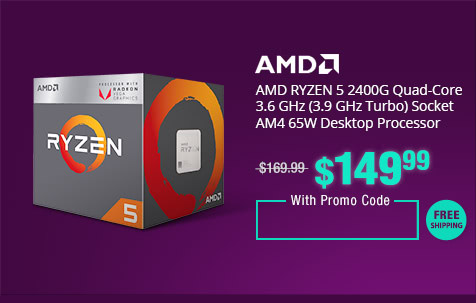 AMD RYZEN 5 2400G Quad-Core 3.6 GHz (3.9 GHz Turbo) Socket AM4 65W Desktop Processor