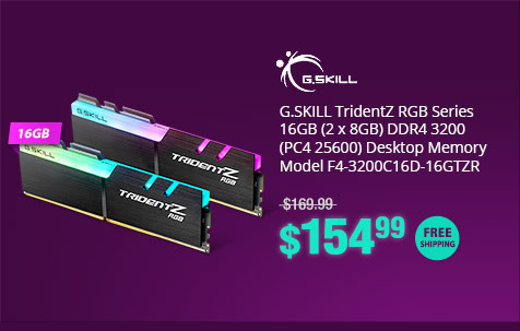 G.SKILL TridentZ RGB Series 16GB (2 x 8GB) DDR4 3200 (PC4 25600) Desktop Memory Model F4-3200C16D-16GTZR