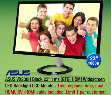 ASUS VX238H Black 23 inch 1ms (GTG) HDMI Widescreen LED Backlight LCD Monitor