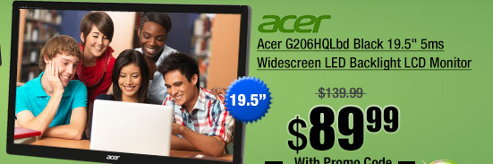 Acer G206HQLbd Black 19.5 inch 5ms Widescreen LED Backlight LCD Monitor