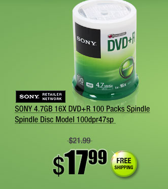SONY 4.7GB 16X DVD+R 100 Packs Spindle Spindle Disc Model 100dpr47sp
