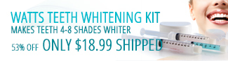 ATTS TEETH WHITENING KIT. MAKES TEETH 4-8 SHADES WHITER. 53% OFF ONLY $18.99 SHIPPPED.