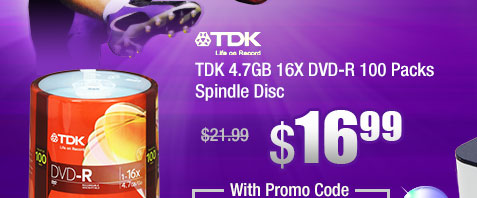 TDK 4.7GB 16X DVD-R 100 Packs Spindle Disc