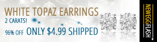 NF - White Topaz Earrings 2 Carats! 96% OFF ONLY $4.99 Shipped.