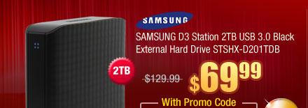 SAMSUNG D3 Station 2TB USB 3.0 Black External Hard Drive STSHX-D201TDB