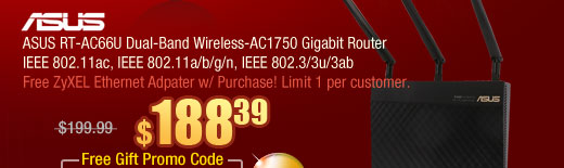 ASUS RT-AC66U Dual-Band Wireless-AC1750 Gigabit Router IEEE 802.11ac, IEEE 802.11a/b/g/n, IEEE 802.3/3u/3ab