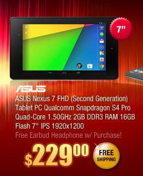 "ASUS Nexus 7 FHD (Second Generation) Tablet PC Qualcomm Snapdragon S4 Pro Quad-Core 1.50GHz 2GB DDR3 RAM 16GB Flash 7"" IPS 1920x1200"