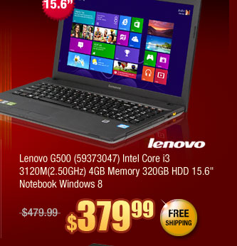 "Lenovo G500 (59373047) Intel Core i3 3120M(2.50GHz) 4GB Memory 320GB HDD 15.6"" Notebook Windows 8"