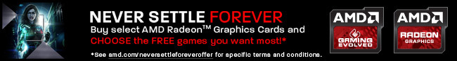 NEVER SETTLE FOREVER. Buy select AMD Radeon Graphics Cards and CHOOSE the FREE games you want most!* *See amd.com/neversettleforeveroffer for specific terms and conditions.