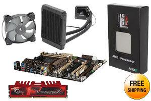 AMD FX-9590 4.7GHz Eight-Core CPU + ASUS SABERTOOTH 990FX MOBO + G.SKILL Ripjaws 8GB MEM + CORSAIR Hydro Series H60