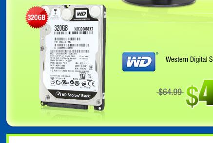 "Western Digital Scorpio Black 320GB SATA 3.0Gb/s 2.5"" Internal Notebook Hard Drive Bare Drive"
