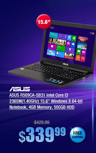ASUS R509CA-SB31 Intel Core i3 2365M(1.40GHz) 15.6 inch Windows 8 64-bit Notebook, 4GB Memory, 500GB HDD