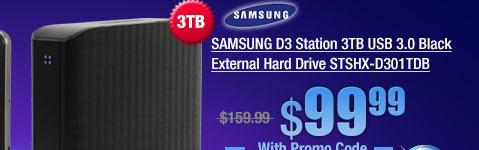 SAMSUNG D3 Station 3TB USB 3.0 Black External Hard Drive STSHX-D301TDB