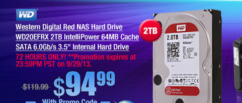 Western Digital Red NAS Hard Drive WD20EFRX 2TB IntelliPower 64MB Cache SATA 6.0Gb/s 3.5 inch Internal Hard Drive