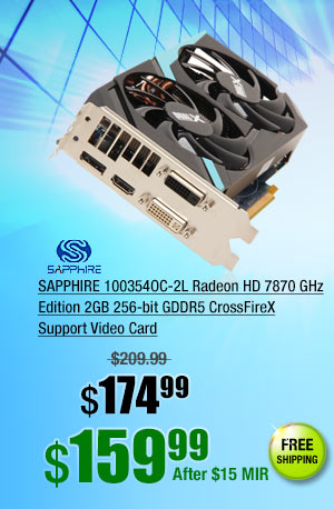 SAPPHIRE 100354OC-2L Radeon HD 7870 GHz Edition 2GB 256-bit GDDR5 CrossFireX Support Video Card